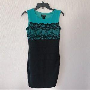 En Focus Twofer Teal/ Black Dress- 4P